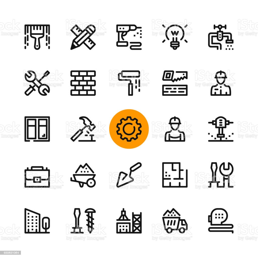 Construction, tools line icons set. Modern graphic design concepts, simple outline elements collection. 32x32 px. Pixel perfect. Vector line icons vector art illustration