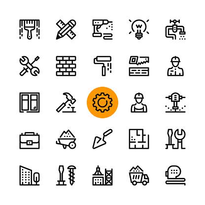 건설 도구 라인 아이콘을 설정 합니다 현대 그래픽 디자인 개념 간단한 개요 요소 컬렉션 32 X 32 픽셀 픽셀 완벽 한입니다 벡터 라인 아이콘 건물 외관에 대한 스톡 벡터 아트 및 기타 이미지