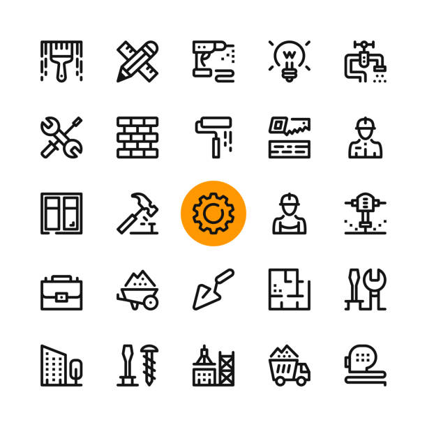construction, tools line icons set. modern graphic design concepts, simple outline elements collection. 32x32 px. pixel perfect. vector line icons - konstrukcja budowlana stock illustrations