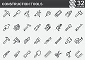 Construction Tools Line Icons