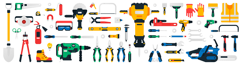Construction tools set. Collection of tools for repair, construction, finishing work. Work accessories for locksmith, electrician, plumber, builder, carpenter. Isolated vector illustration