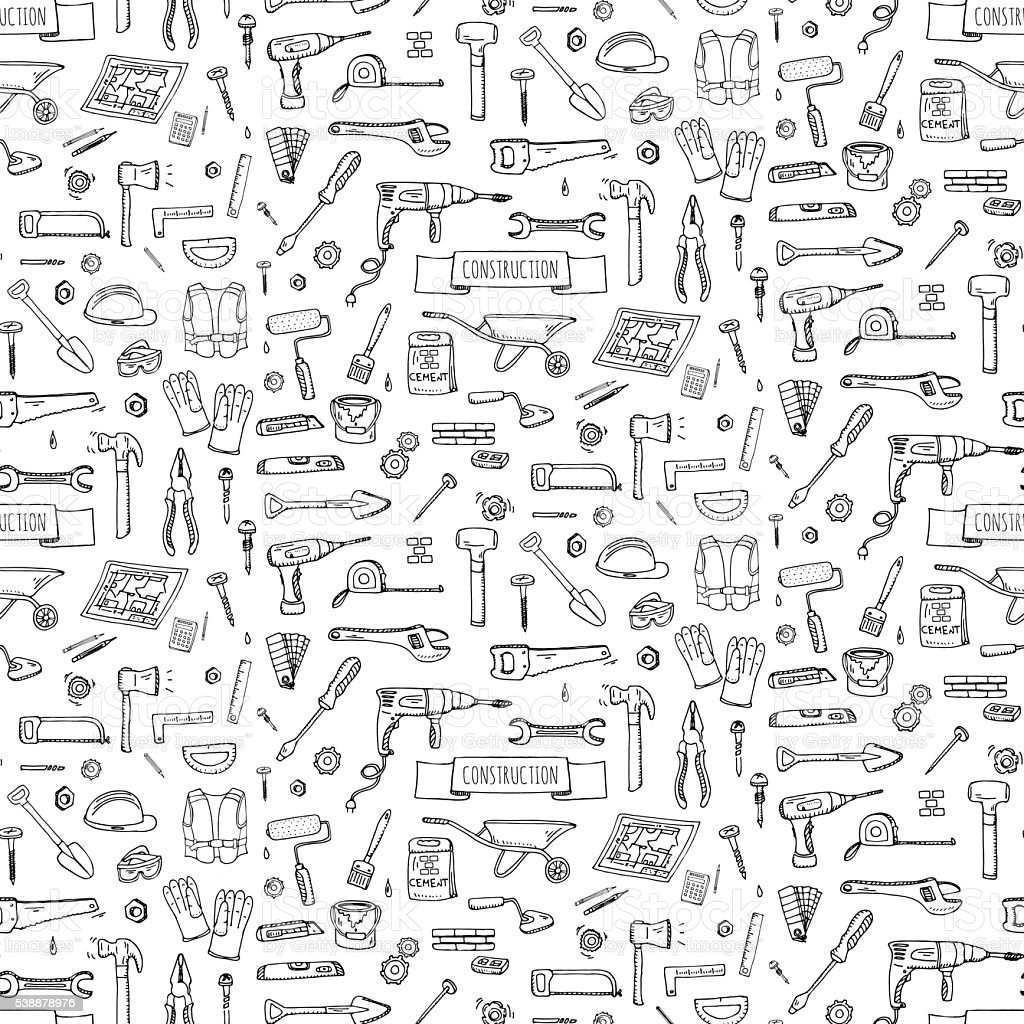 Construction tools set vector art illustration