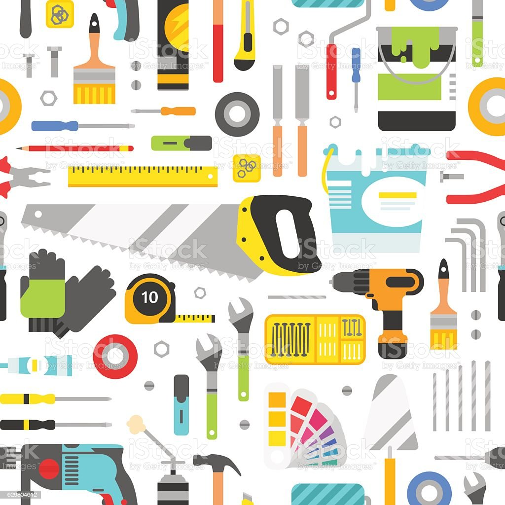 Construction tools vector icons seamless pattern. Hand equipment background in vector art illustration