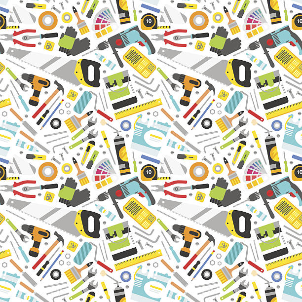 Construction tools vector icons seamless pattern. Construction tools vector icons seamless pattern. Hand equipment background in flat style. Repair industrial symbols background. Home carpenter hardware instrument vector. diy stock illustrations