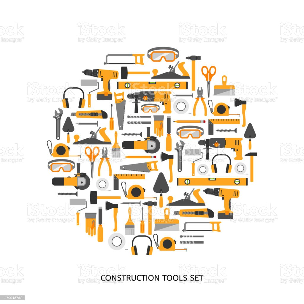 Construction tools vector icons set. vector art illustration