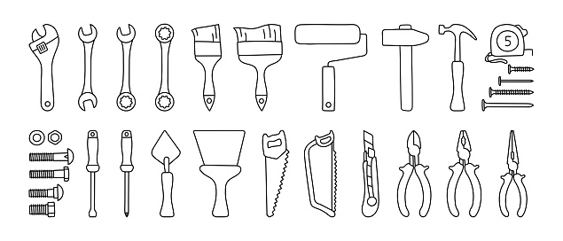 Construction tools vector set. Black line doodle sketch. Adjustable wrench, brush, roller, hammer and nails. Screw, nut and bolt. Tape measure, screwdriver, putty knife, saw, pliers and wire cutters