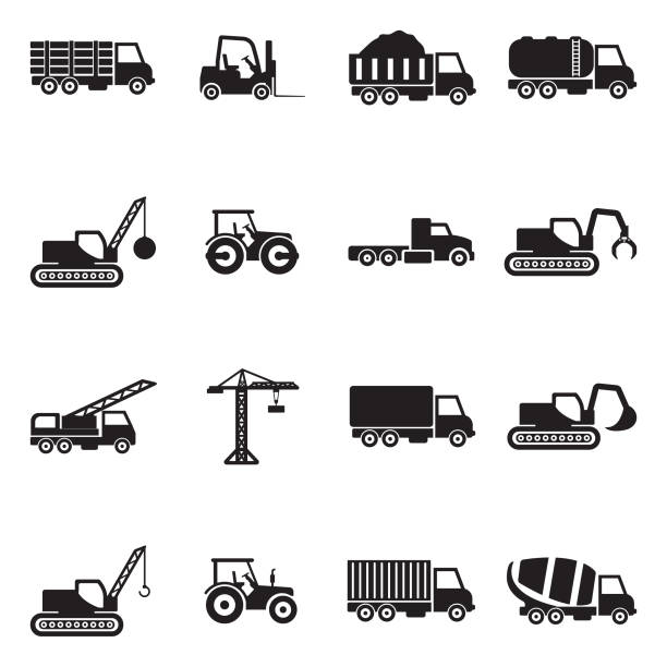 Construction Transport Icons. Black Flat Design. Vector Illustration. Crane, Industry, Work, Building demolished stock illustrations