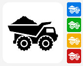 Construction Truck Icon. This 100% royalty free vector illustration features the main icon pictured in black inside a white square. The alternative color options in blue, green, yellow and red are on the right of the icon and are arranged in a vertical column.