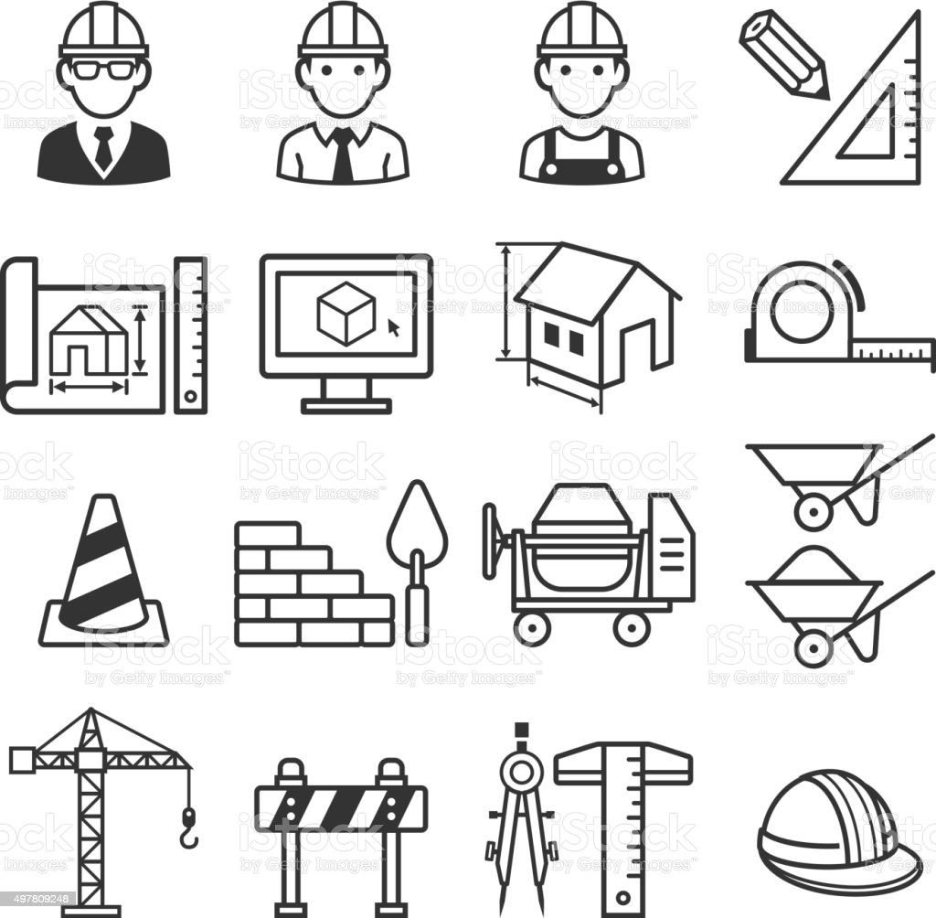 Construction truck icon set. vector art illustration