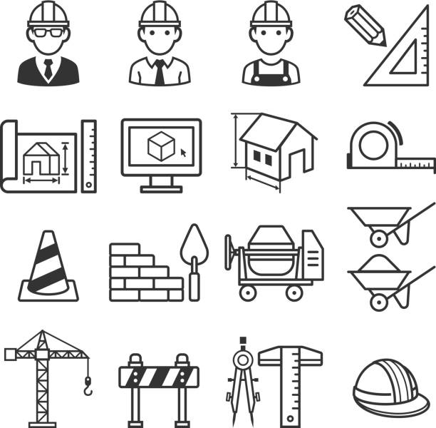 construction truck icon set. - architect stock illustrations, clip art, cartoons, & icons