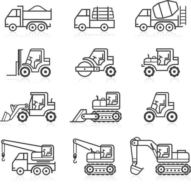 bildbanksillustrationer, clip art samt tecknat material och ikoner med construction truck icon set. - traktor pulling