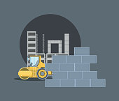 Construction structure and brick wall with  road roller truck icon over gray background, colorful design. vector illustration