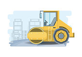 Construction road roller truck over white background, colorful design vector illustration