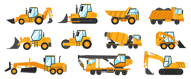 Construction trucks. Heavy industrial vehicles for digging, mining, lifting and transportation. Building transport. Crane excavator and grader. Yellow work lorry. Vector machinery set