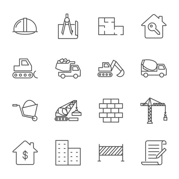 Construction vector icons set, outline style Construction vector icons set, outline style architecture icons stock illustrations