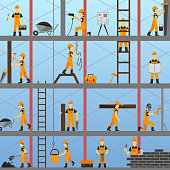 Construction process background with builders repairmen and maintenance workers vector illustration