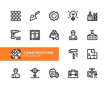 Construction vector line icons. Simple set of outline symbols, linear graphic design elements. Construction icons set. Pixel Perfect