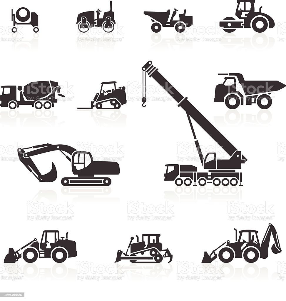 Construction vehicle icons vector art illustration