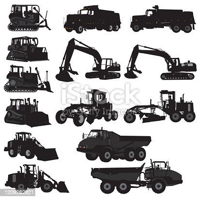 Silhouette illustrations of various construction vehicles. Bulldozer, construction machinery, earth mover. grouped for easy edits.