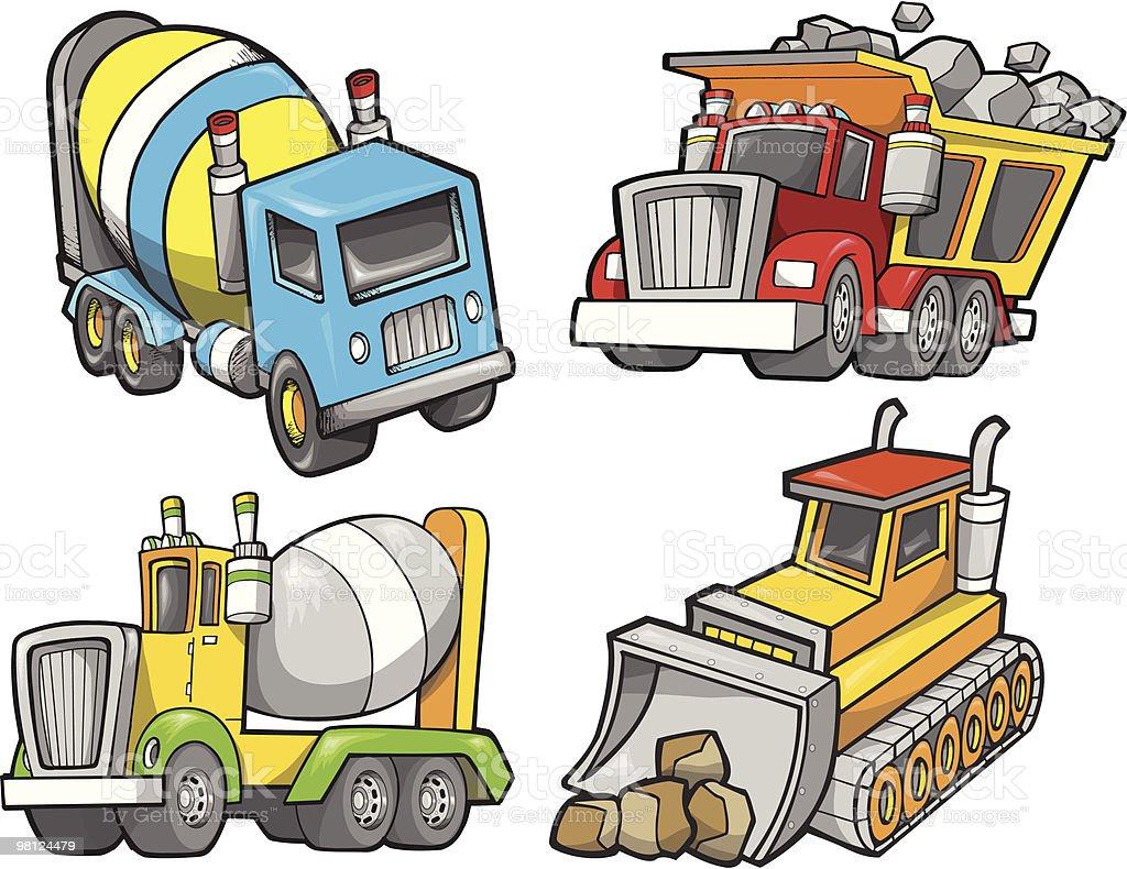 Set di costruzione del veicolo set di costruzione del veicolo - immagini vettoriali stock e altre immagini di autocarro ribaltabile royalty-free