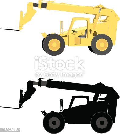 Two vector views of a telescopic handler with pallet loader.