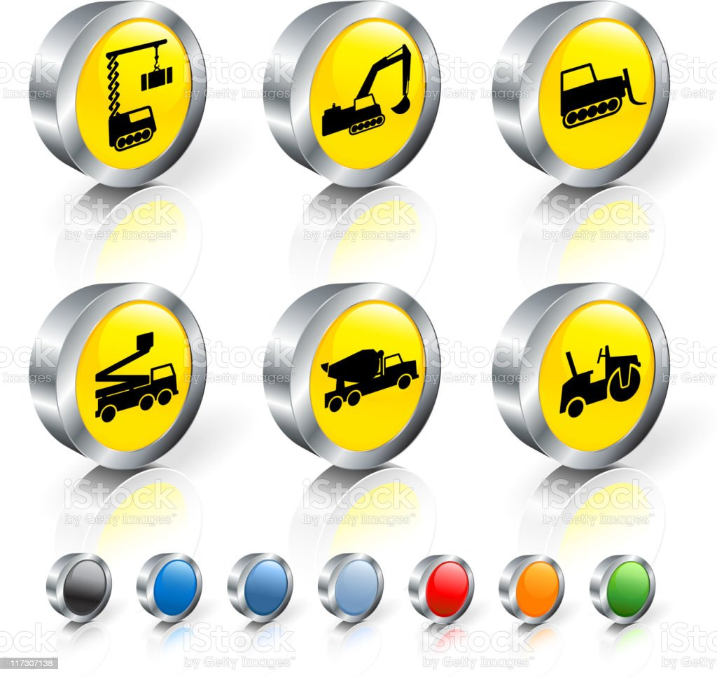 Construction vehicles 3D royalty free vector icon set royalty-free stock vector art