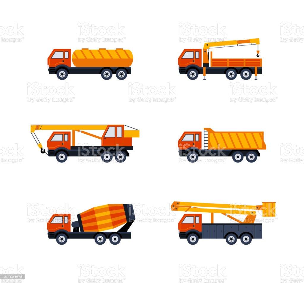 Construction Vehicles - modern vector flat design icons set vector art illustration