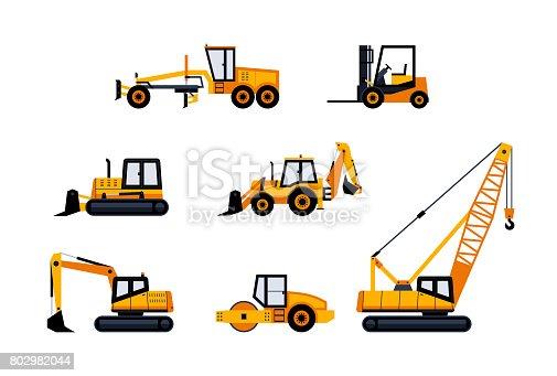 Construction Vehicles - modern vector flat design icon set. Loader, excavator, backhoe, bulldozer, crane, paving machine, road grader, forklift. Heavy machinery to build cities.