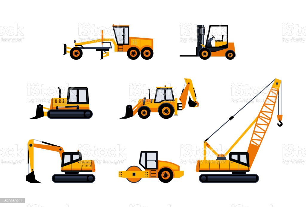 Baufahrzeuge - moderne Vektor Icon-set – Vektorgrafik