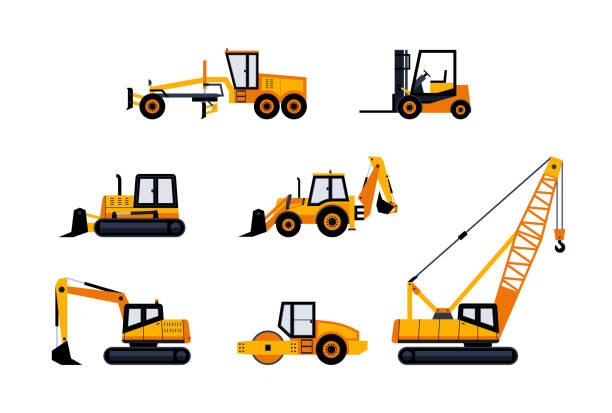 stockillustraties, clipart, cartoons en iconen met bouwvoertuigen - moderne vector icon set - shovel