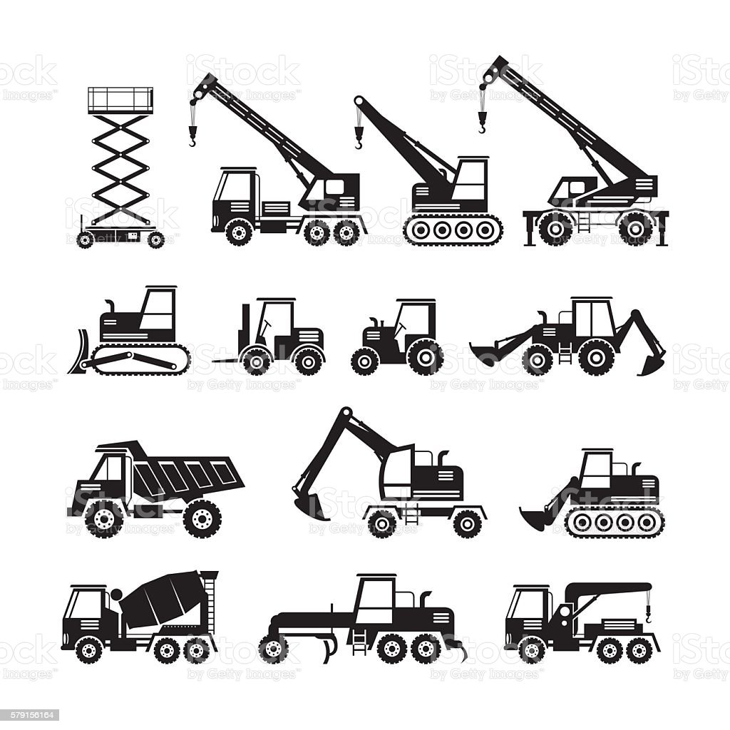 Construction Vehicles Objects Silhouette Set vector art illustration