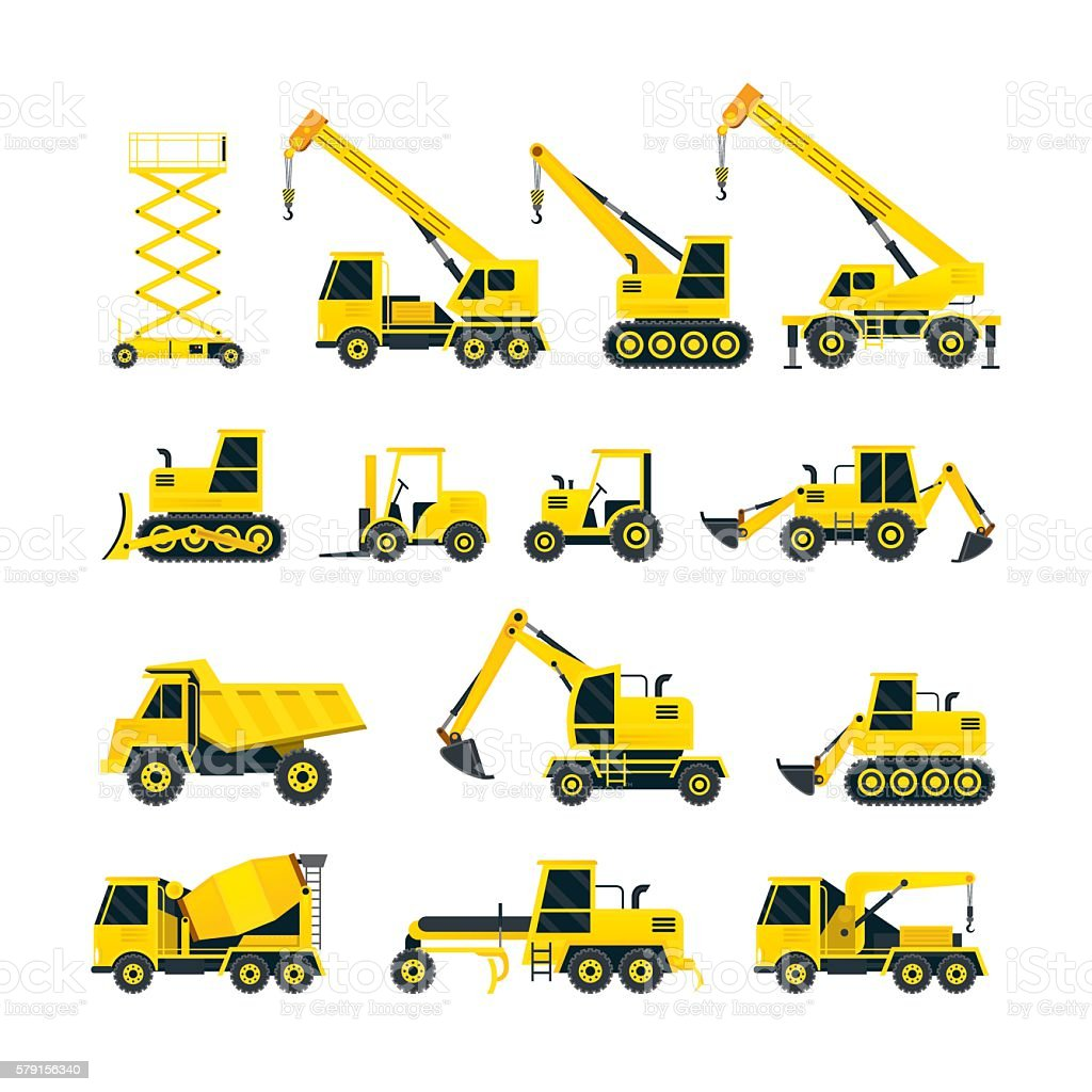 Construction Vehicles Objects Yellow Set vector art illustration