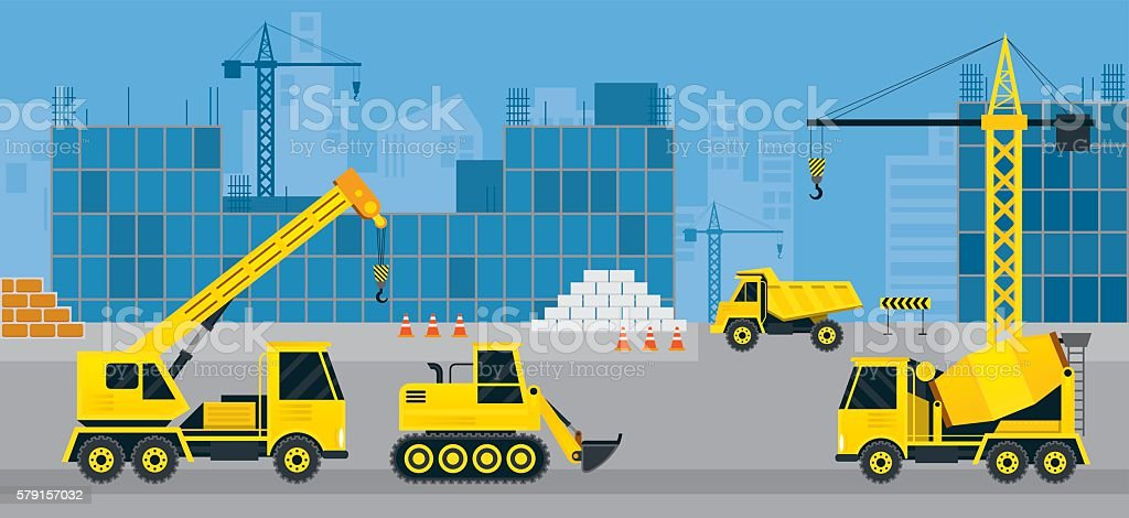 Construction Vehicles on Site, Background vector art illustration