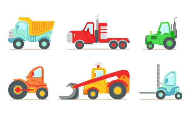 bildbanksillustrationer, clip art samt tecknat material och ikoner med entreprenadfordon set, lastbil, traktor, gaffeltruck lastare, bulldozer vektor illustration - traktor pulling