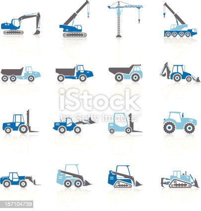 Construction Vehicles Silhouette symbols. The reflections underneath were created using linear gradients. Each element is set on a different layer and is very easy for you to use and modify this elements. You can easily change the colors of the icons and use your own colors.