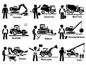 Construction Vehicles Transportation and Worker Set
