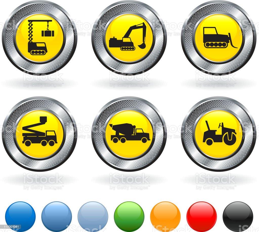 Construction vehicles vector art illustration