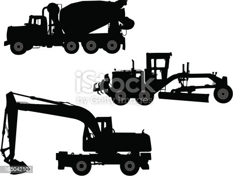 Silhoettes of a cement truck, grader, and excavater.