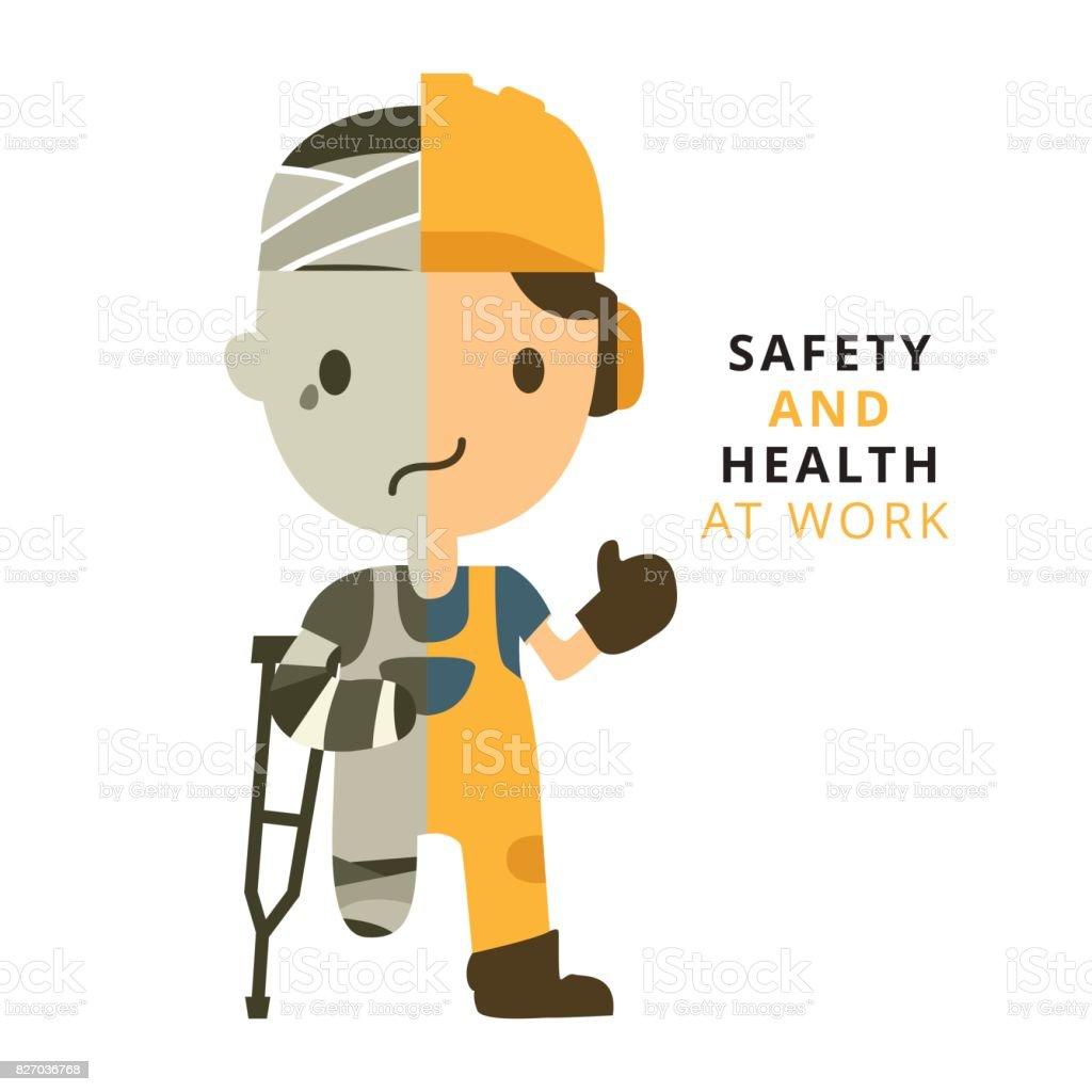 Trabalhador da construção civil, acidente de trabalho, segurança primeiro, saúde e segurança, ilustrador vetorial - ilustração de arte em vetor