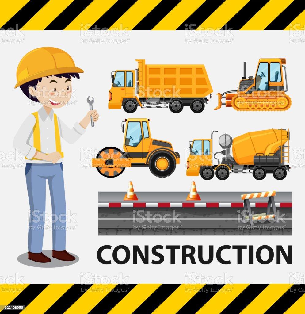 Ilustración de Obrero De Construcción Y Camiones De Construcción y ...