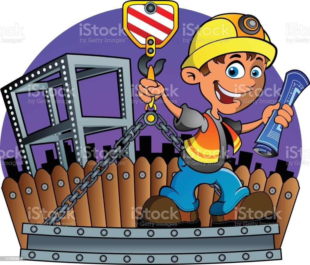 Construction Worker and Crane royalty-free construction worker and crane stock vector art & more images of blueprint