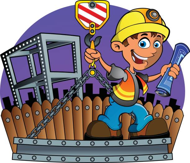 Construction Worker and Crane vector art illustration