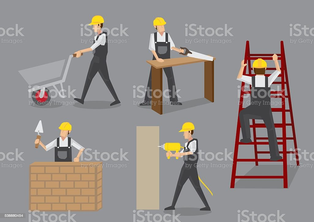 Construction Worker at Work Vector Characters vector art illustration