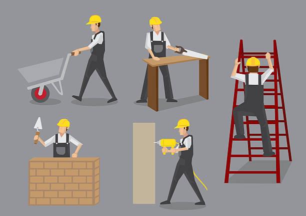 stockillustraties, clipart, cartoons en iconen met construction worker at work vector characters - kruiwagen met gereedschap