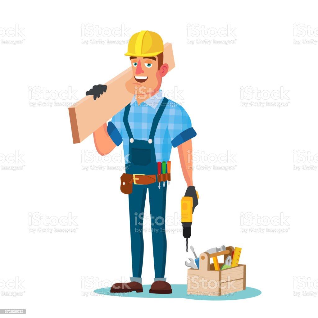 Ilustración de Trabajador De Construcción Madera Estructura Vector ...