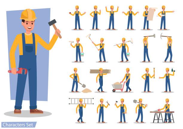 construction worker character vector design - construction worker stock illustrations