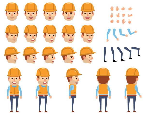 ilustrações, clipart, desenhos animados e ícones de jogo da criação do trabalhador da construção. vários gestos, emoções, diversas poses, visões. crie sua própria pose, animação - landscape creation kit