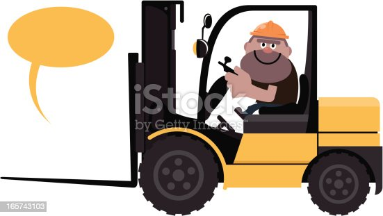 istock Construction Worker Driving a forklift 165743103