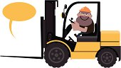 Vector illustration - Construction Worker Driving a forklift.