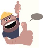 Vector illustration – Construction Worker Gesturing Thumbs Up With Blank Sign.